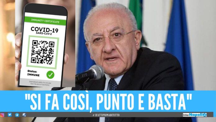 Green pass, De Luca: